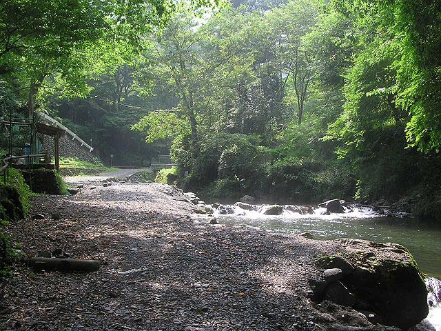 峰谷川渓流釣場歩きやすい川岸写真