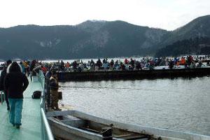 余呉湖桟橋ワカサギ釣りわかさぎ写真